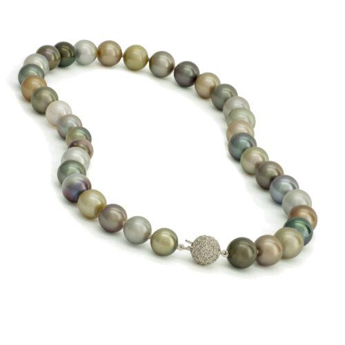Tahitiparel collier, multicolor, diamanten