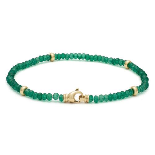 Groene onyx armband, geelgoud