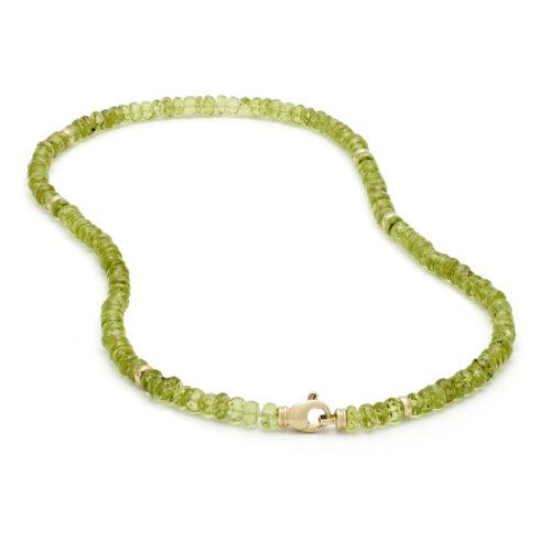 Peridot collier, geelgoud
