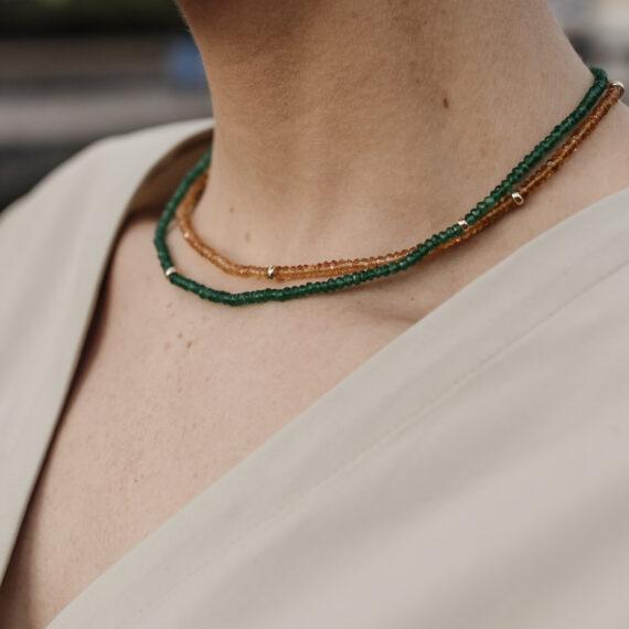 Groen Onyx collier, geelgoud