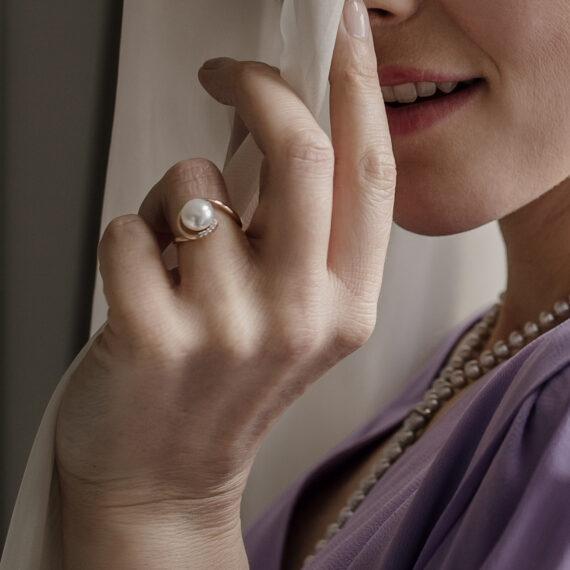 Parelring, roségoud, diamant