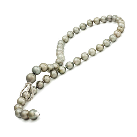Tahitiparel collier, verstelbare Y-model, diamanten