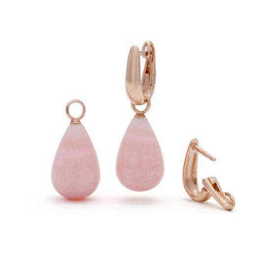 Roségouden creolen oorhangers, roze opaal