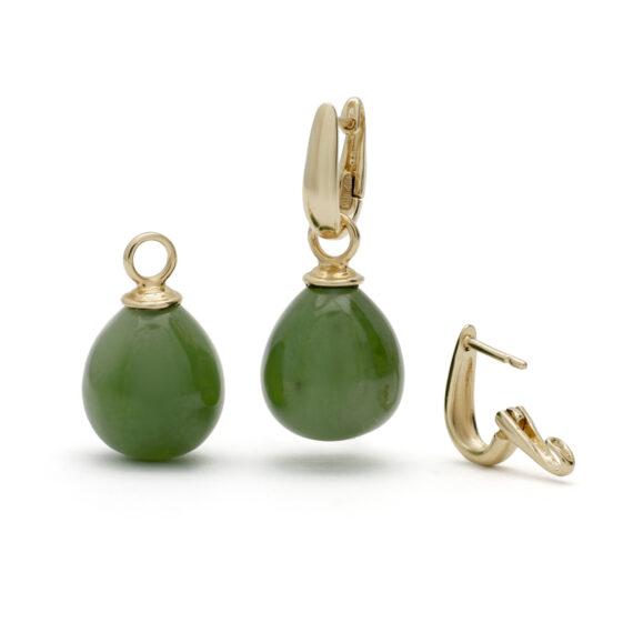 Creolen oorhangers, geelgouden jade hangers