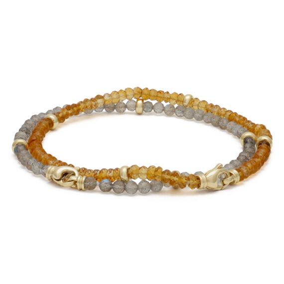 Goudgele citrien armband, geelgoud