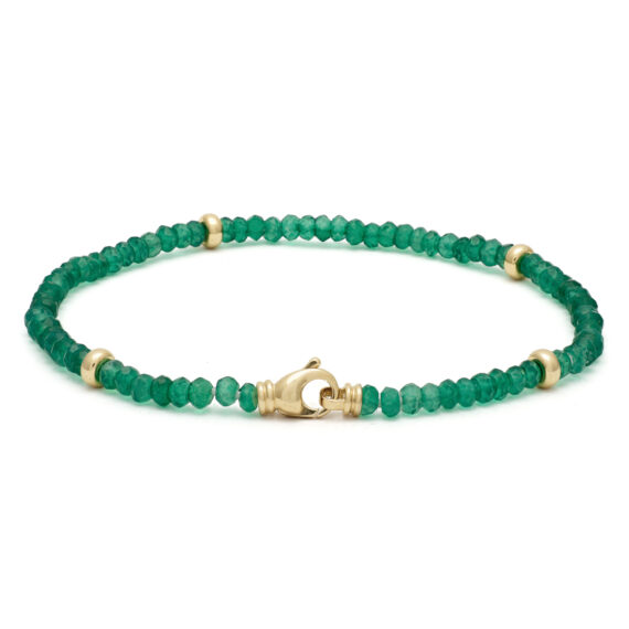 Groen onyx armband, geelgoud