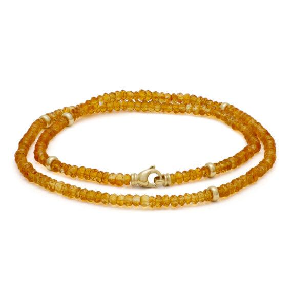 Goudgeel citrien collier, geelgoud