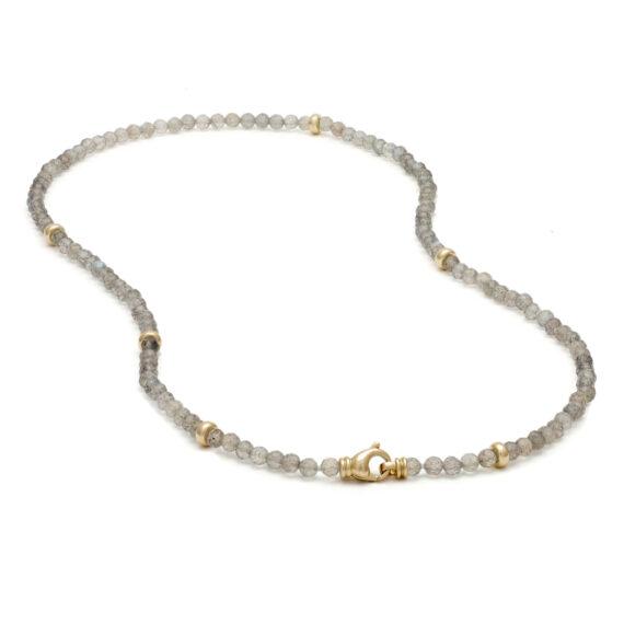 Labradoriet collier, geelgoud