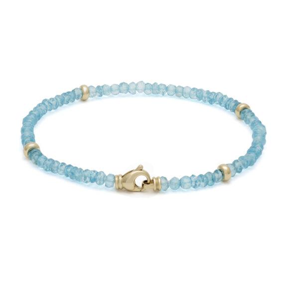 Bergkristal armband, blauw, geelgoud