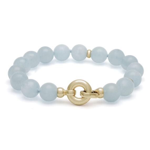 Aquamarijn armband, clipsluiting
