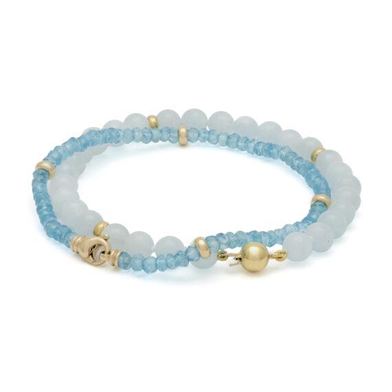 Aquamarijn armband, geelgouden bolsluiting