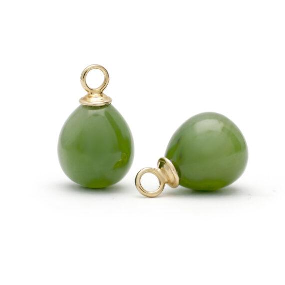 Geelgouden aanhangers voor creolen, jade pegels